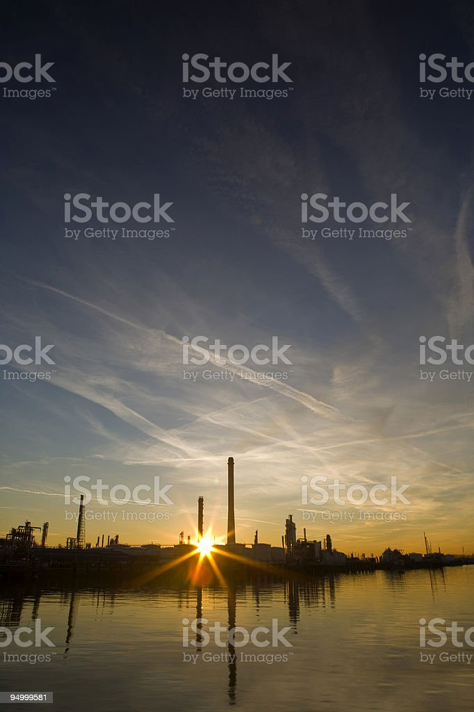 Harbor area at sunset royalty-free stock photo