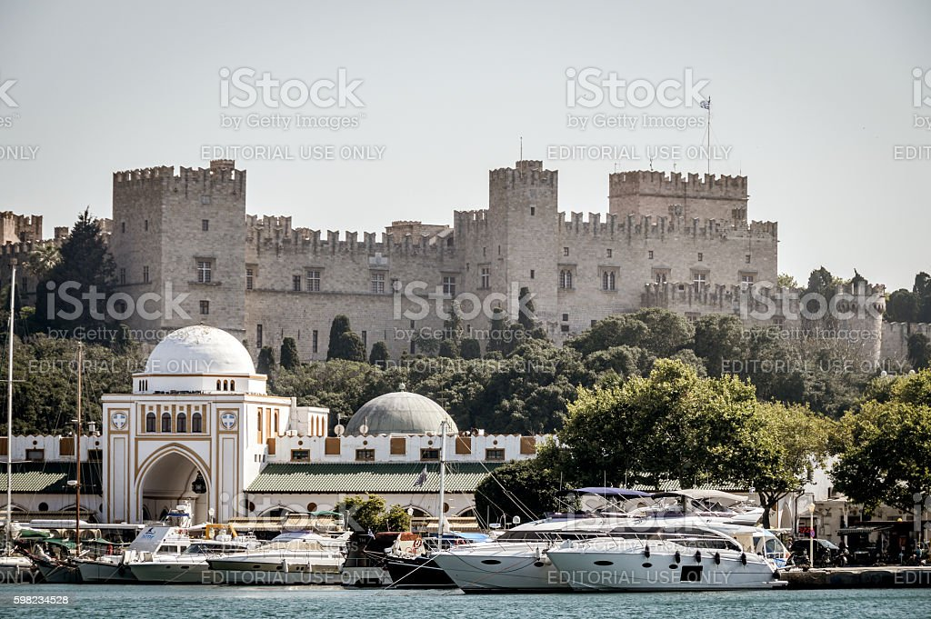 Harbor area in Old Town of Rhodes, Greece stock photo