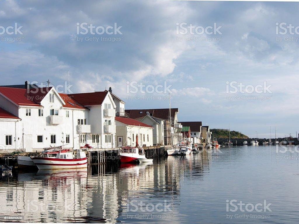 Harbor at Henningsvaer, Lofoten,Norway stock photo