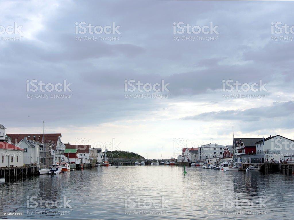 Harbor at Henningvaer Lofoten, Norway stock photo