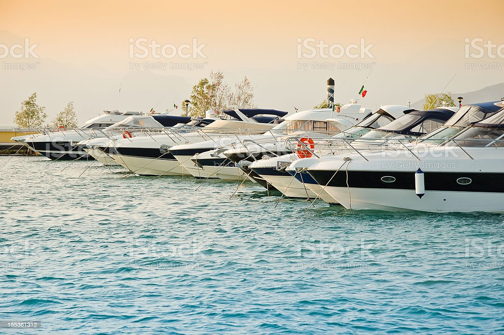 Harbor at Lago di Garda lake stock photo