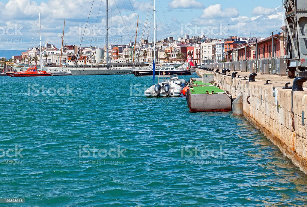 Harbor at Mediterranean Sea port of Tarragona in Spain stock photo