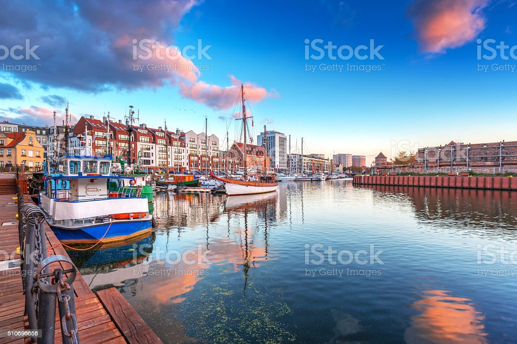 Harbor at Motlawa river with old town of Gdansk stock photo