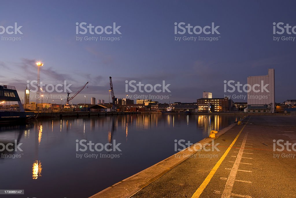 Harbor at night stock photo