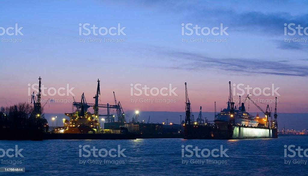 Harbor at nightfall stock photo