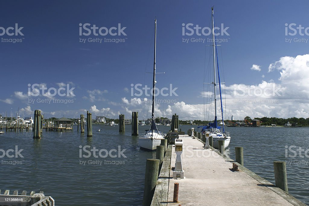 Harbor at Ocracoke Island stock photo