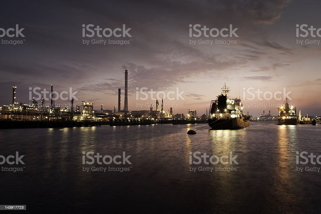 harbor at oil refinery stock photo