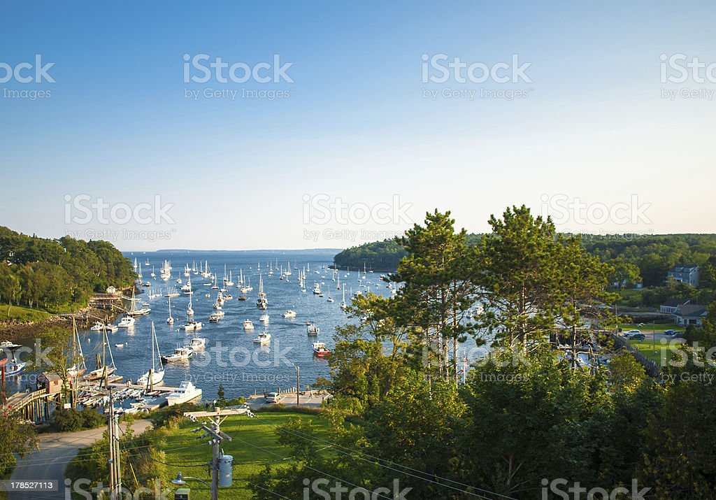 Harbor at Rockport, Maine seen from high stock photo