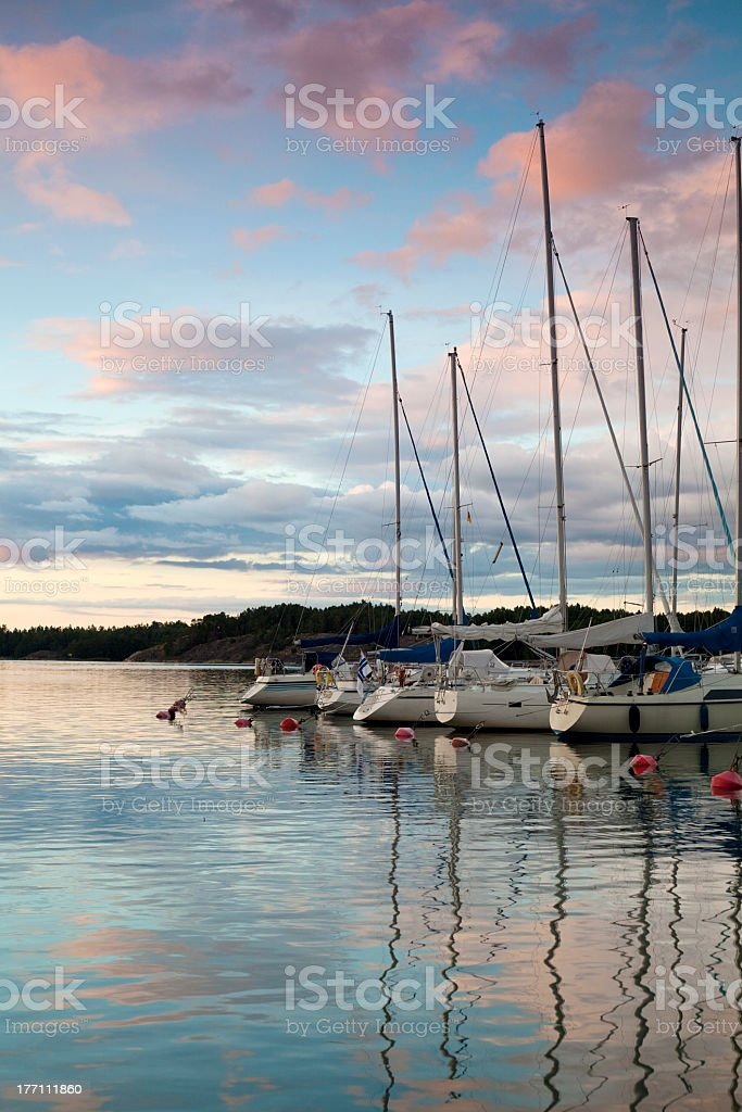 Harbor at sunset stock photo