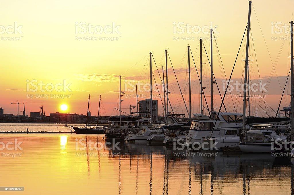 Harbor at Sunset stock photo