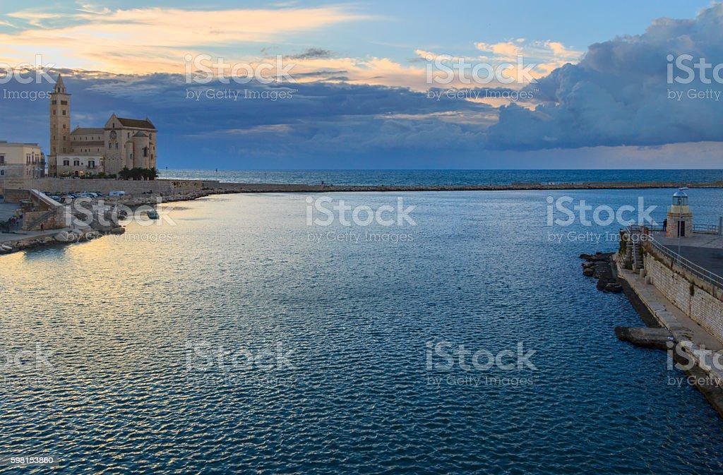 Harbor at sunset: Romanesque cathedral,Trani(Puglia) -ITALY- stock photo