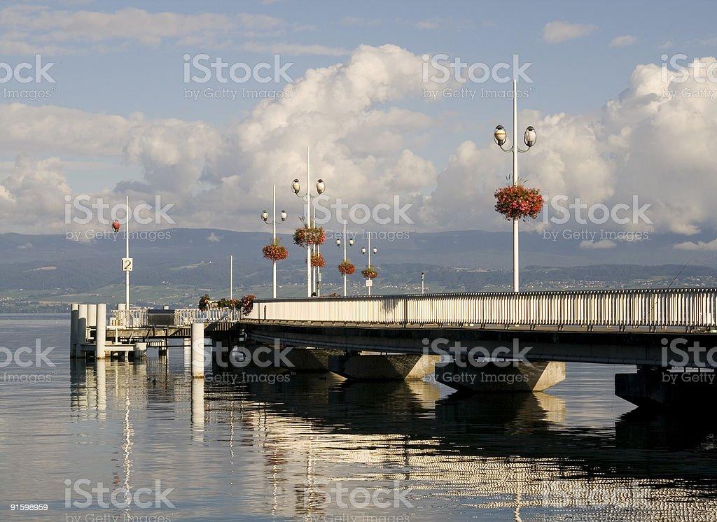 harbor at thonon stock photo