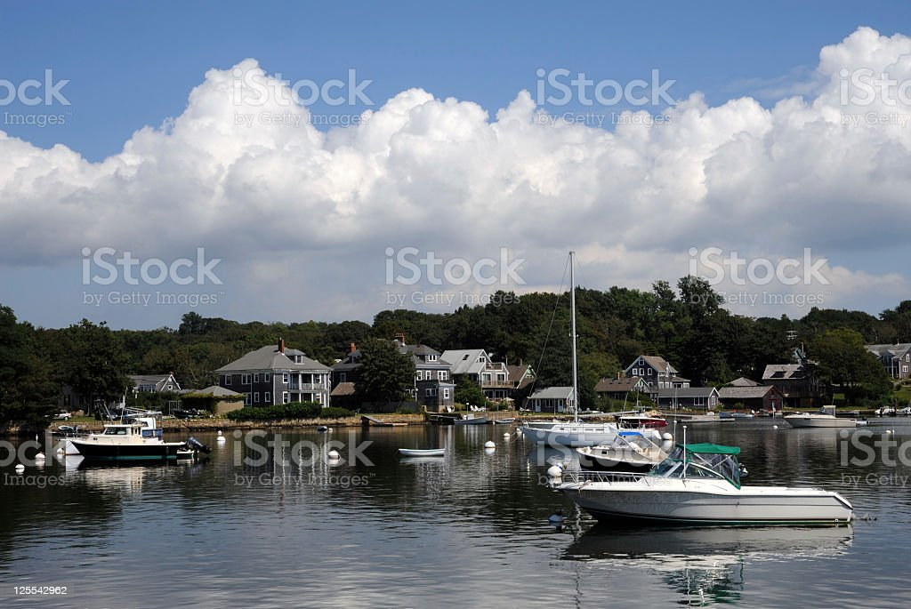 Harbor at Woods Hole, MA, on Cape Cod royalty-free stock photo