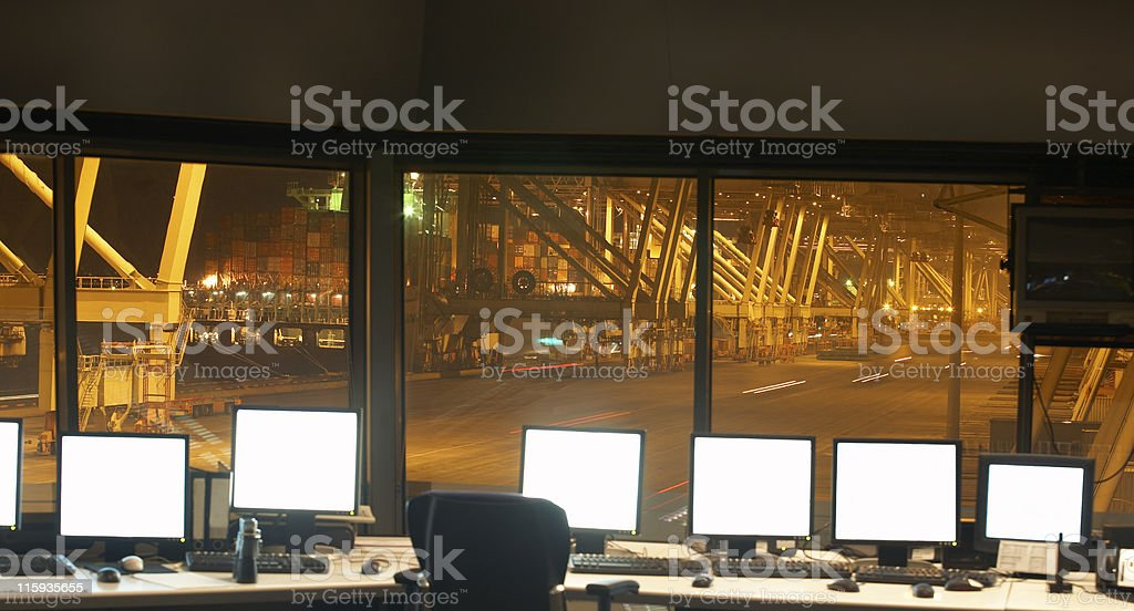 Harbor control room royalty-free stock photo