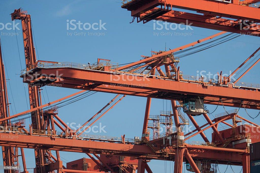 Harbor Cranes Import Export stock photo
