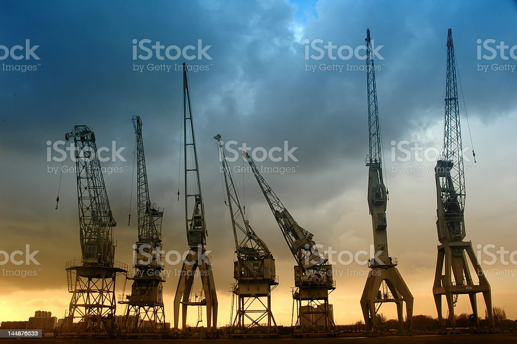 Harbor cranes royalty-free stock photo