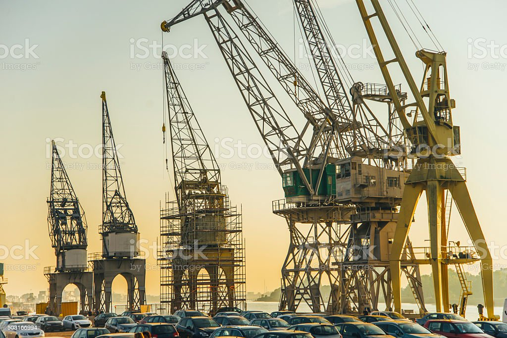 Harbor cranes stock photo