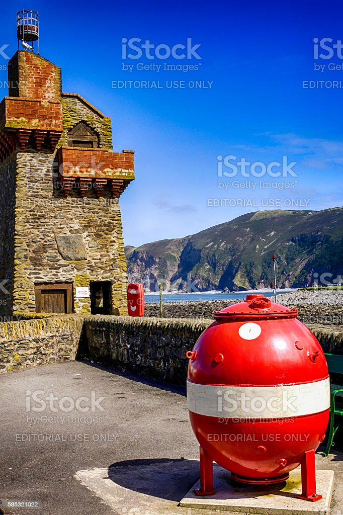 Harbor entrance beacon and WW2 Charity Mine at Lynmouth, UK stock photo
