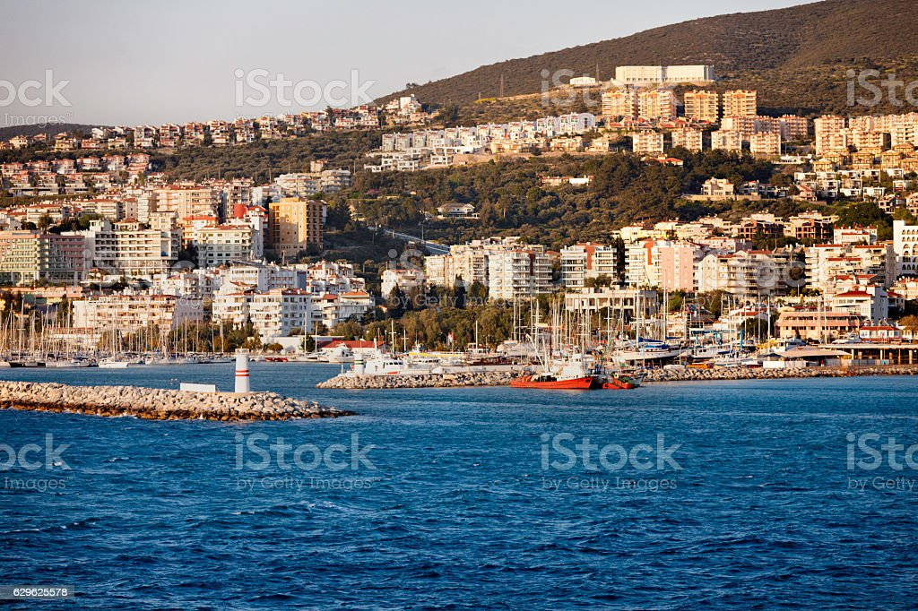 Harbor entrance in a Mediterranean city stock photo