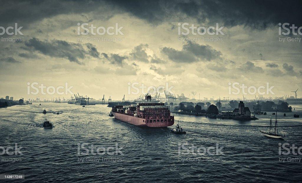 Harbor Entrance to Hamburg royalty-free stock photo