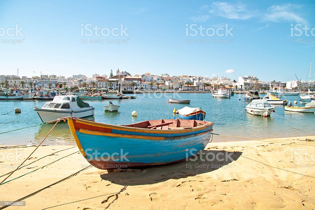 Harbor from Lagos in the Algarve Portugal stock photo