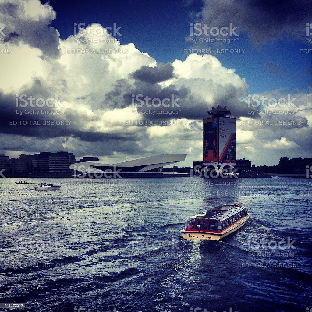 harbor in Amsterdam stock photo