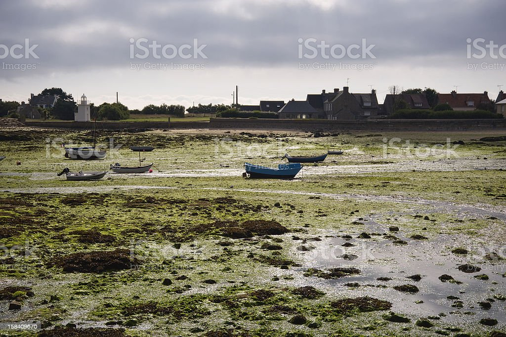 Harbor in Bretagne at low tide time royalty-free stock photo
