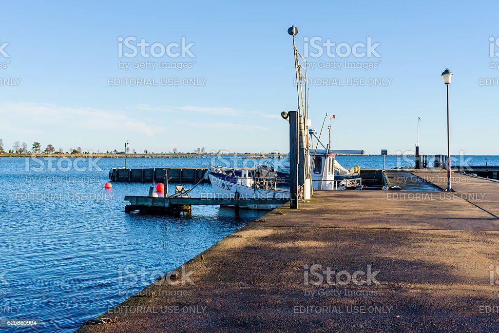 Harbor in fall stock photo