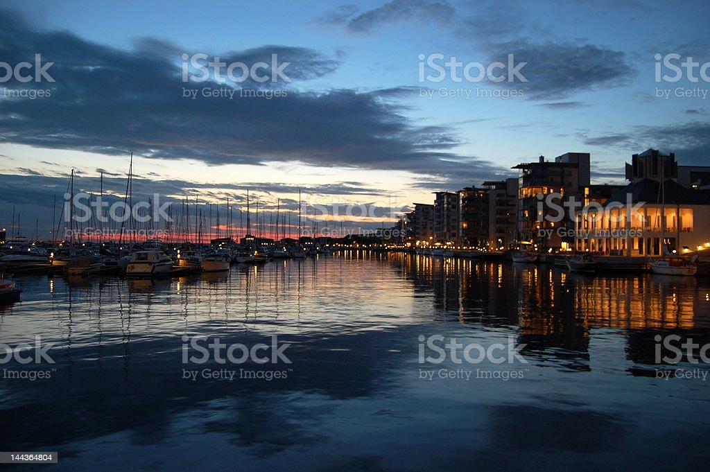 Harbor in Helsingborg late evening stock photo