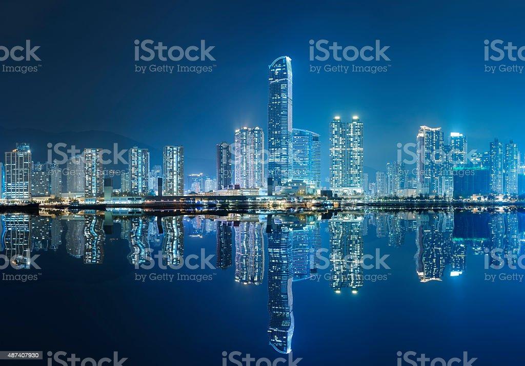 harbor in Hong Kong at night stock photo