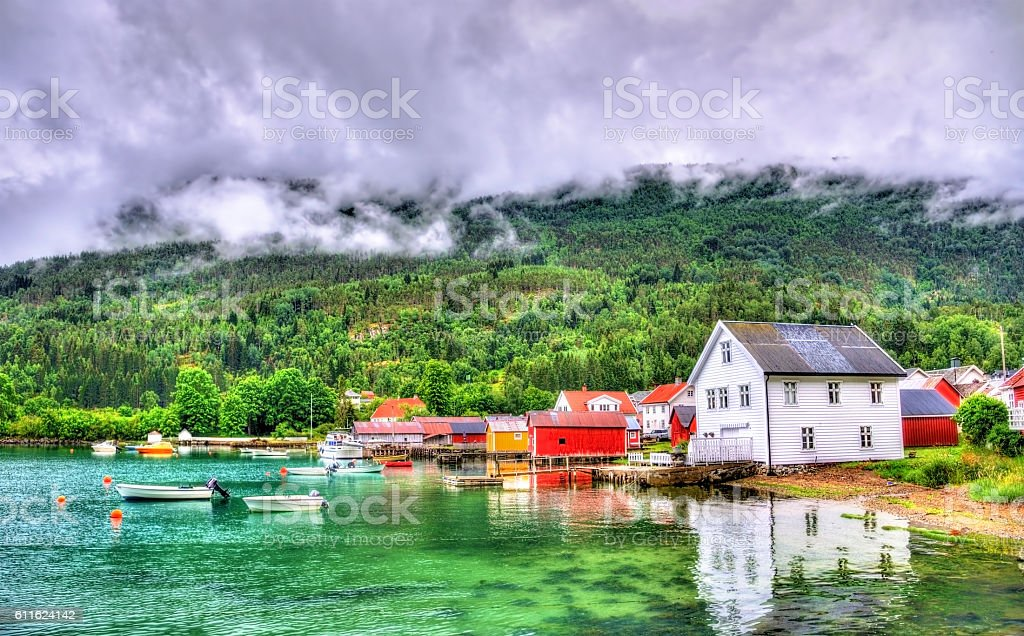 Harbor in Lustrafjorden fjord, Solvorn village - Norway stock photo