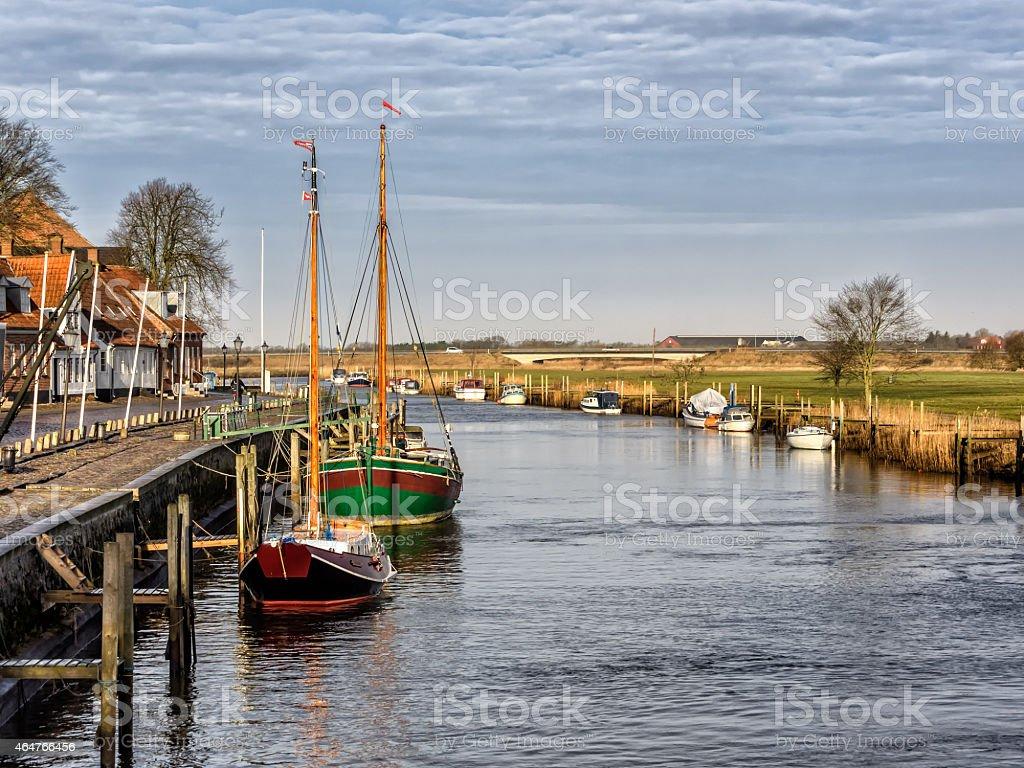 Harbor in medieval city of Ribe, Denmark stock photo