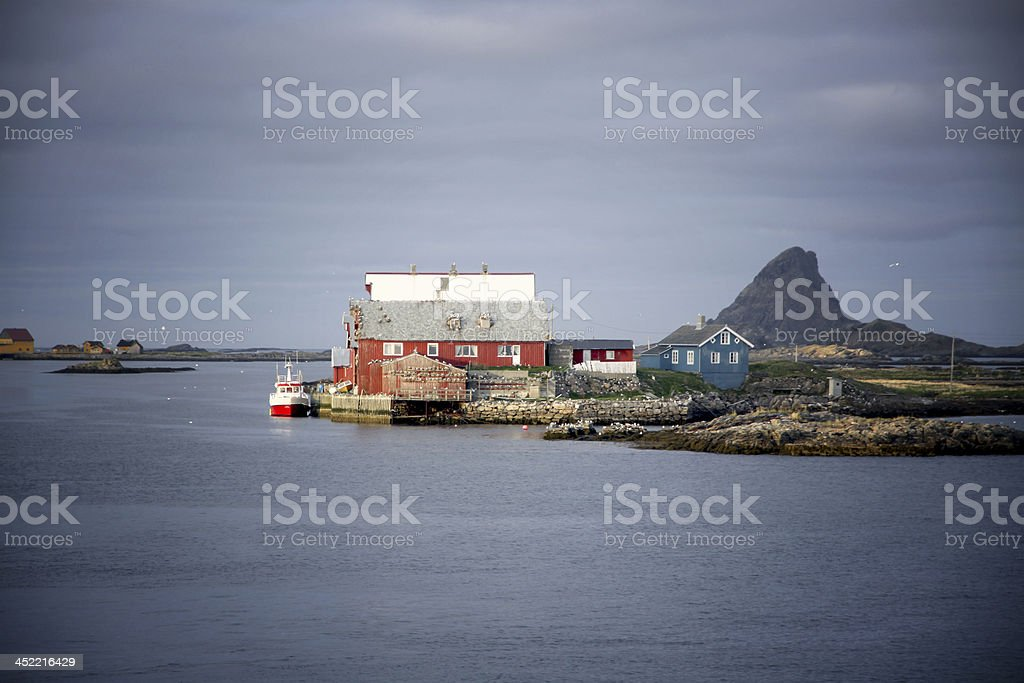 Harbor in northern norway stock photo