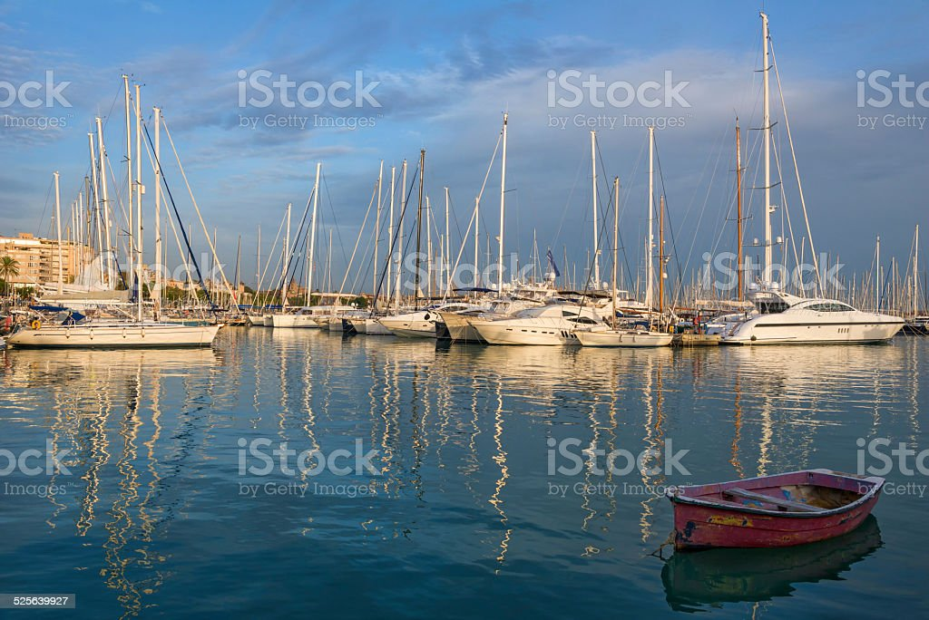 harbor in Palma de Mallorca in afternoon light stock photo