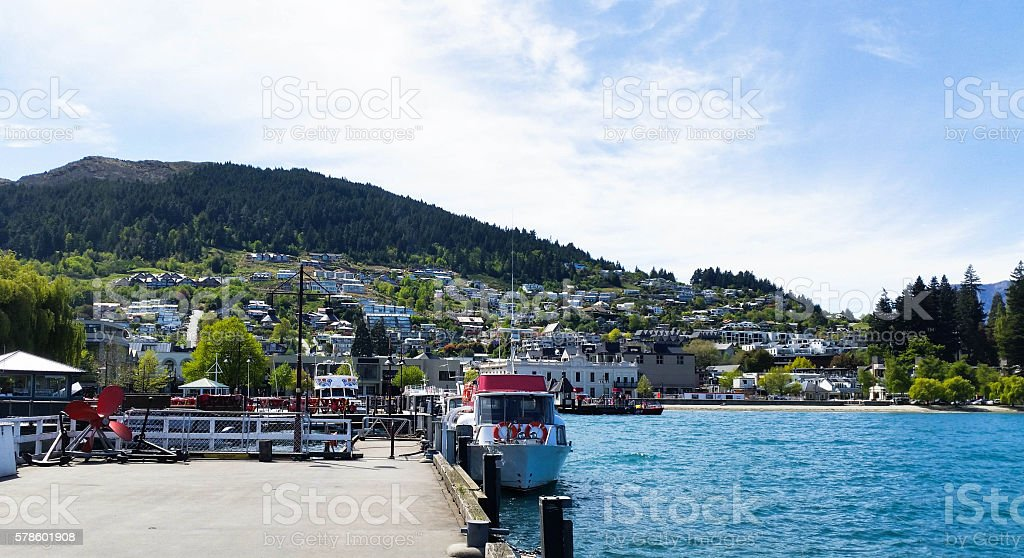 Harbor in Queenstown, New Zealand. residence area with blue sky stock photo