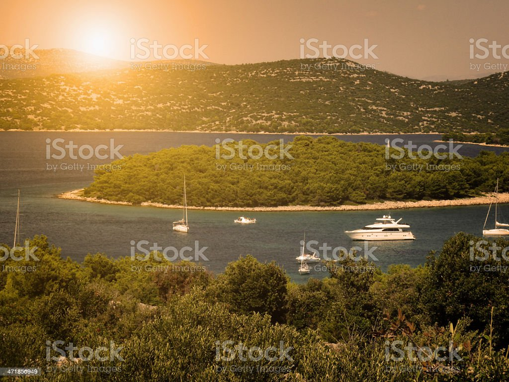 Harbor in sunset royalty-free stock photo