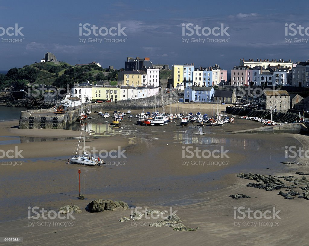 Harbor in Tenby, Wales royalty-free stock photo