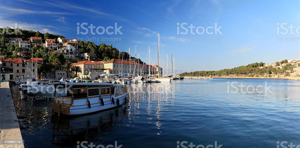 Harbor in the city of Jelsa. stock photo
