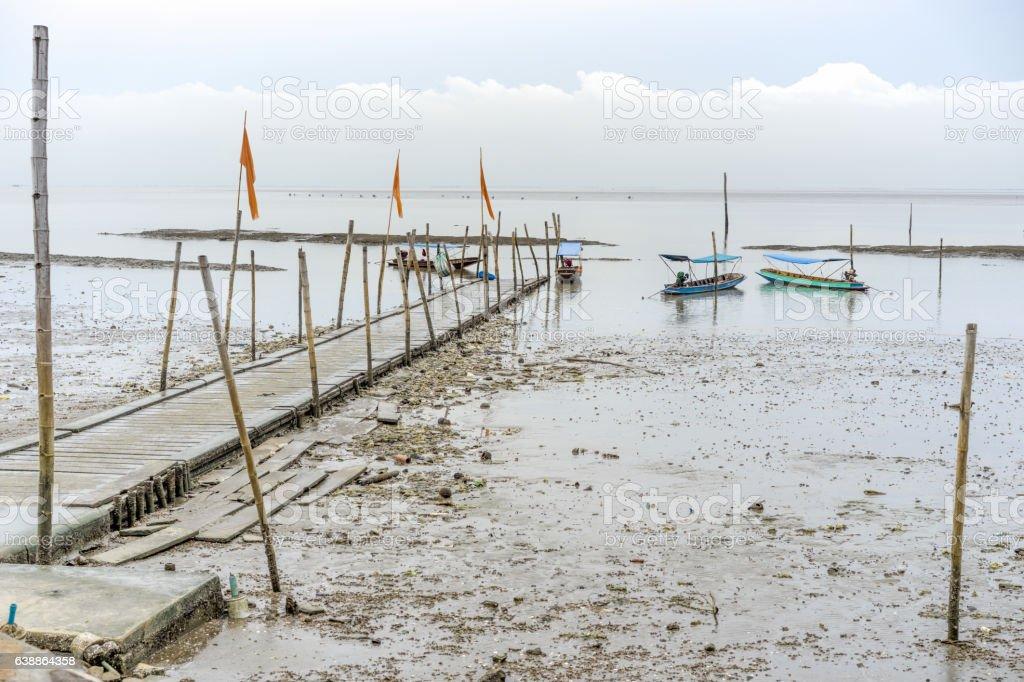 harbor in wetland stock photo