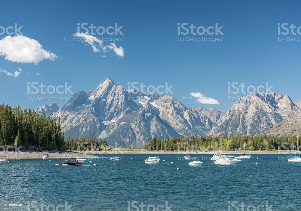 Harbor, Jackson Lake, Grand Teton Mountain Range Panorama stock photo