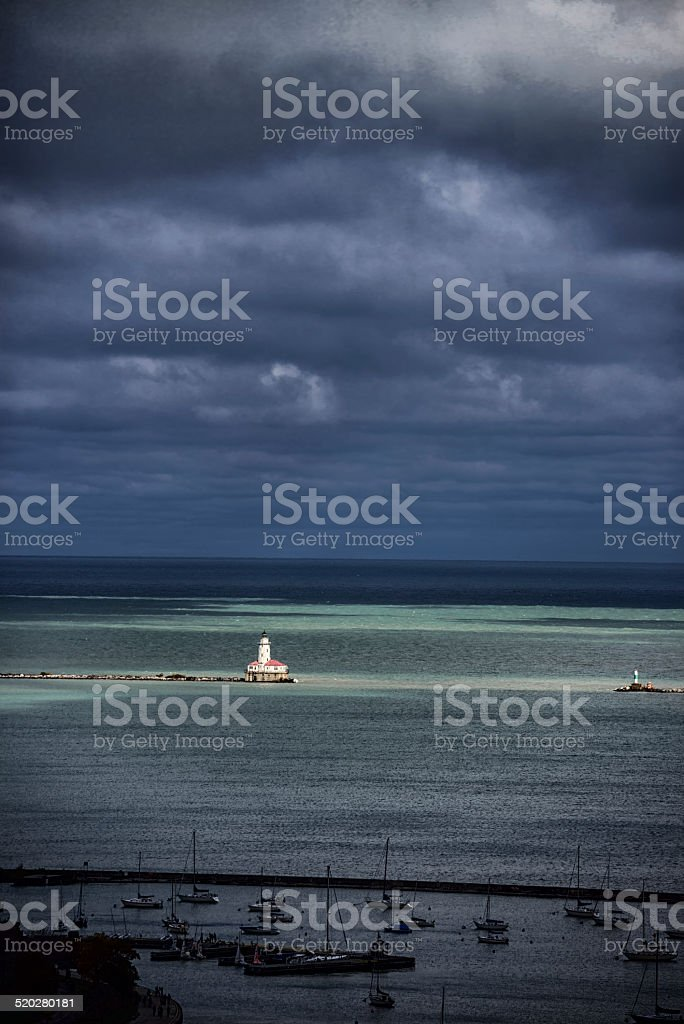 Harbor Lighthouse in Lake Michigan, Chicago stock photo