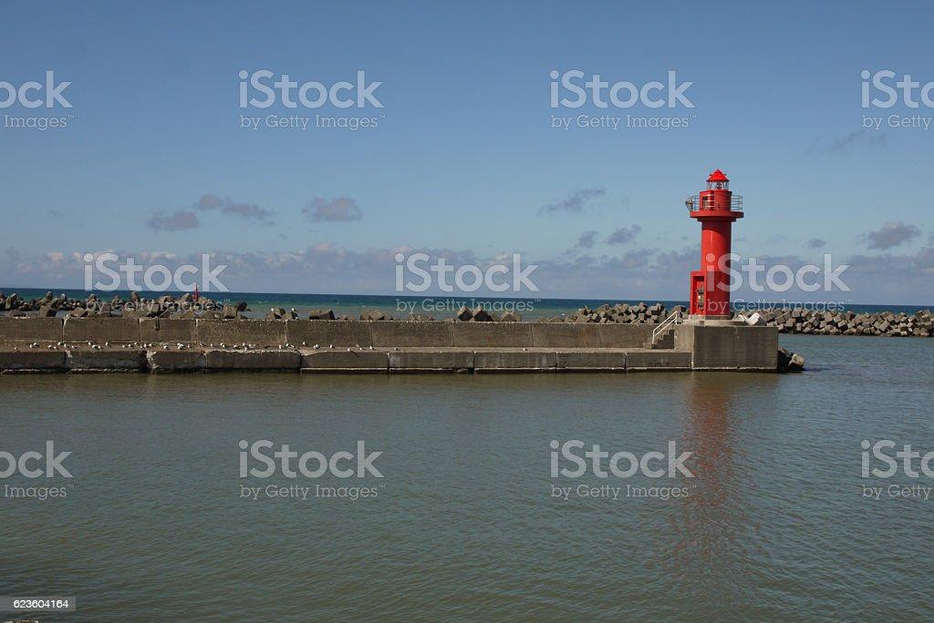 Harbor lighthouse stock photo