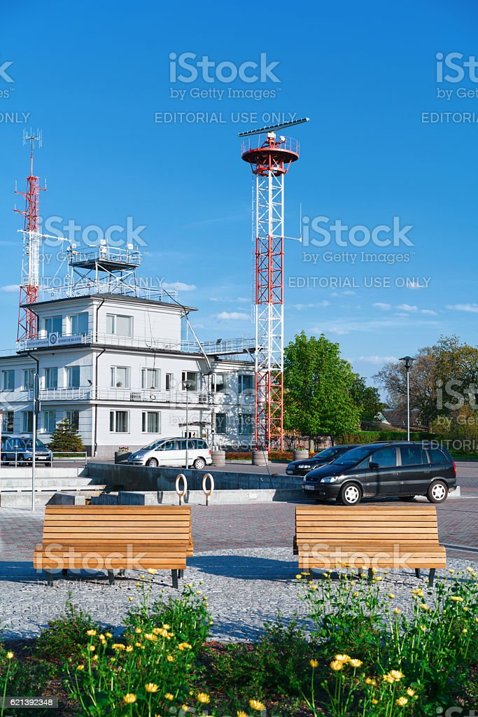 Harbor master building at port in Ventspils stock photo