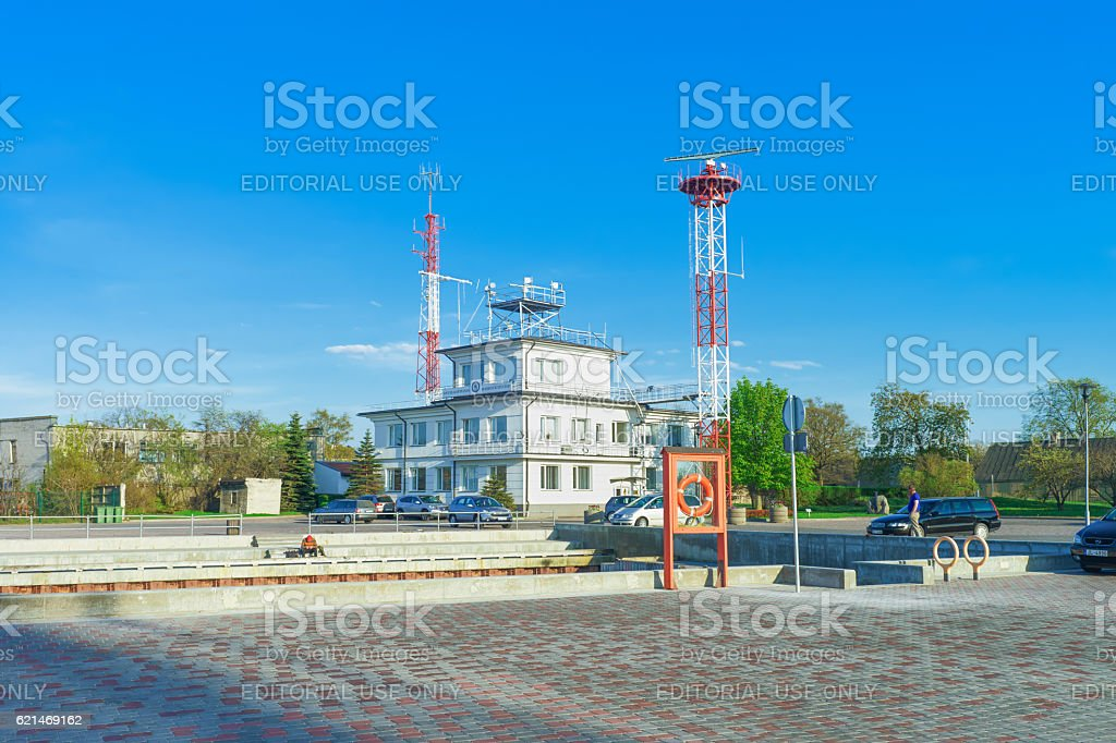 Harbor master office building near the port in Ventspils stock photo