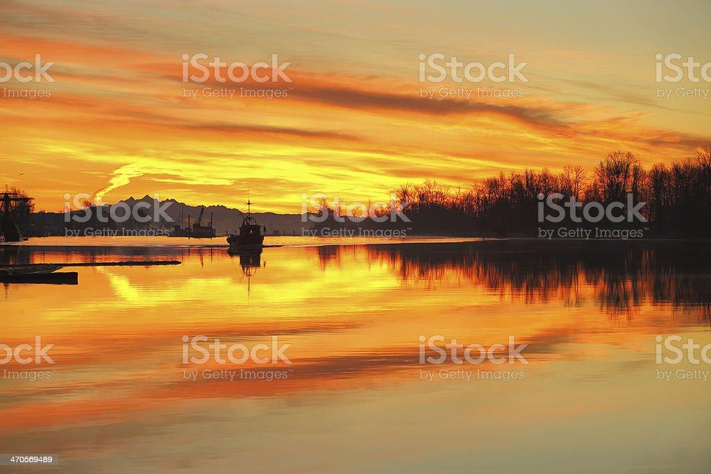 Harbor Morning Light, Steveston, Richmond, BC stock photo