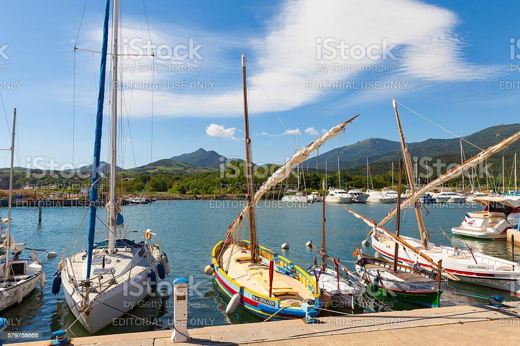 Harbor of Argelès-sur-Mer, France stock photo