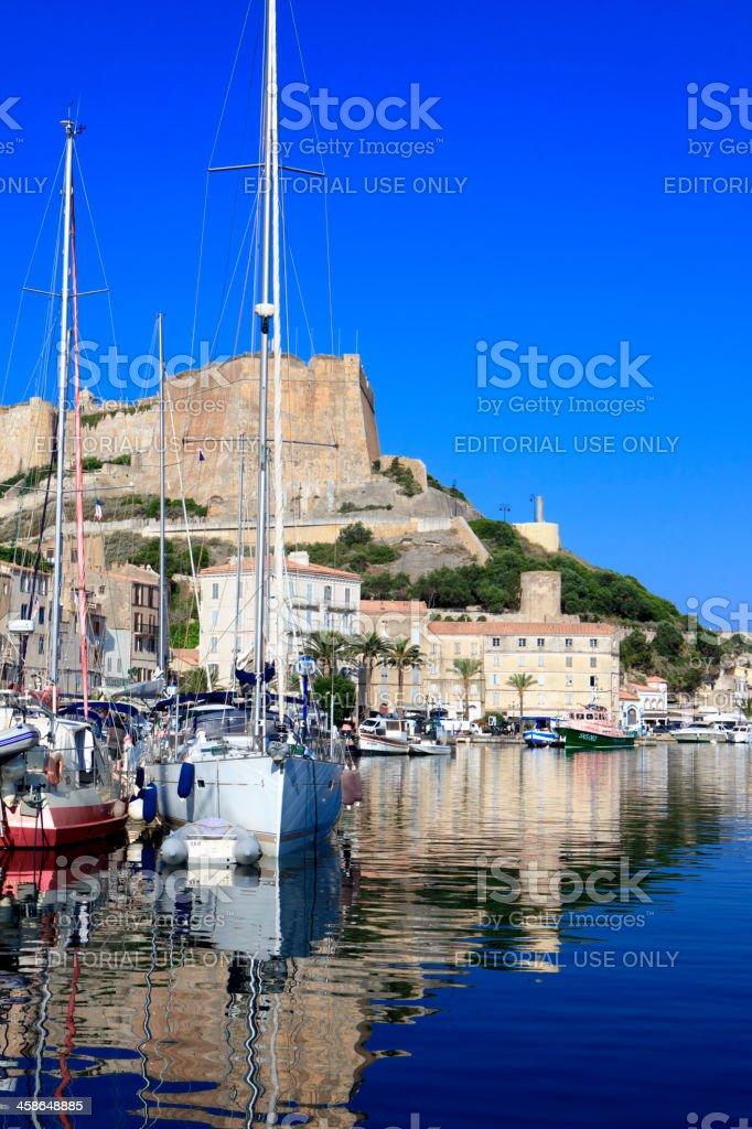 Harbor of Bonifacio, Corsica, France stock photo