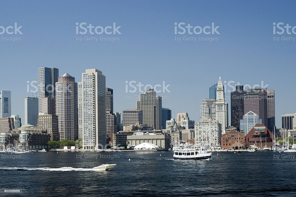 Harbor of Boston with skyline and blue sky plus open water royalty-free stock photo