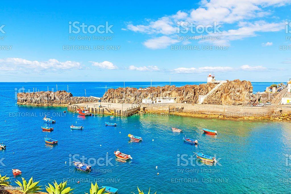 Harbor of Camara de Lobos, Madeira with fishing boats stock photo