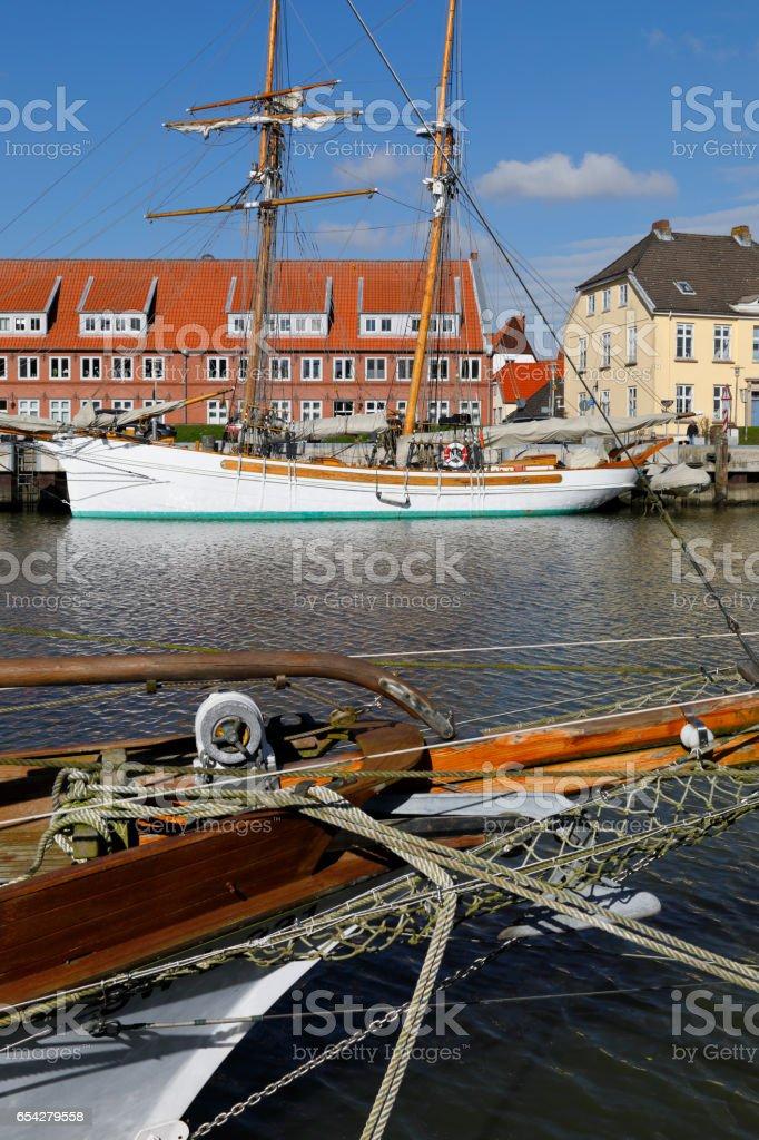 Harbor of Glückstadt, Germany stock photo